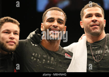 London, UK, 17 Mar 2018. Danny Roberts (Red Corner) defeats Oliver Enkamp (Blue Corner) in the first round.   Credit: - Stock Photo