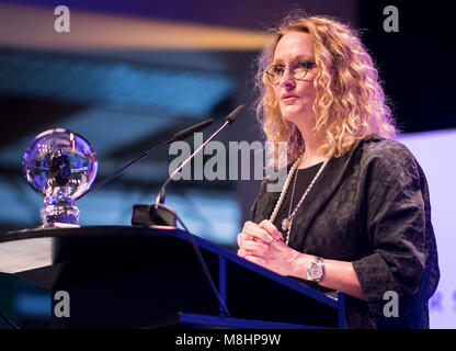 17 March 2018, Germany, Dortmund: Photographer Anne Geddes holding a speech at the Steiger Awards. Photo: Guido - Stock Photo