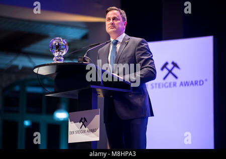 17 March 2018, Germany, Dortmund: Luxembourg's Primeminister, Xavier Bettel, holding a speech at the Steiger Awards. - Stock Photo