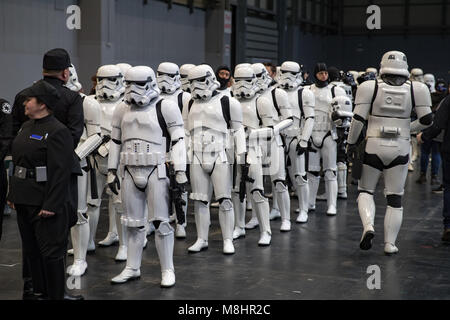 Birmingham, England. 17th March 2018,  Various cosplay people at Birmingham MCM Comic Con held at NEC Arena on March - Stock Photo