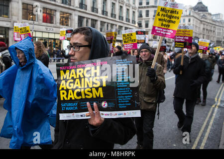 London, UK. 17th March, 2018. Thousands of people attend the March Against Racism, organised by Stand Up To Racism, - Stock Photo
