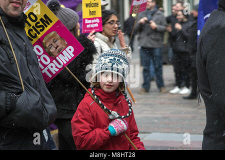 Glasgow, Scotland, UK. 17th March, 2018. A March Against Racism has taken place in Glasgow, with protesters walking - Stock Photo