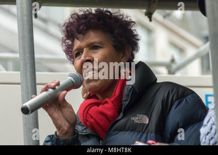 London, UK. 17th March 2018. Moyra Samuels of Justice4Grenfell speaks at the rally outside the BBC before the March - Stock Photo