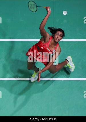 Birmingham. 17th Mar, 2018. Pusarla Venkata Sindhu of India returns the shuttlecock during the women's singles semi - Stock Photo