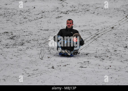 Families enjoy a sledge ride in AbingtonPark in Northampton England UK today. Heavy snow covers have the county - Stock Photo