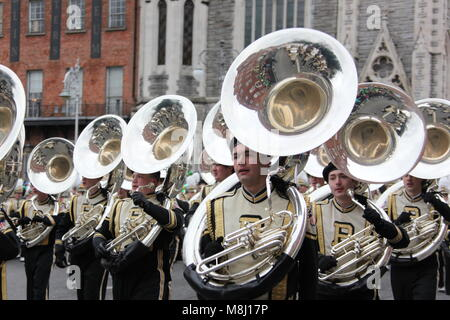 Dublin, Ireland. 17th Mar, 2018. A band marches during the Saint Patrick's Day parade in Dublin, Ireland, March - Stock Photo