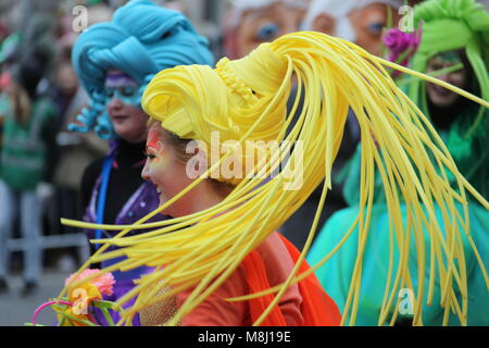 Dublin, Ireland. 17th Mar, 2018. A woman takes part in the Saint Patrick's Day parade in Dublin, Ireland, March - Stock Photo