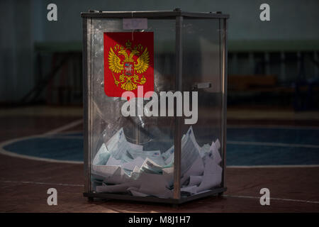 Saint Petersburg, Russia. 18th Mar, 2018. A sealed ballot box seen during the 2018 Russian presidential election - Stock Photo