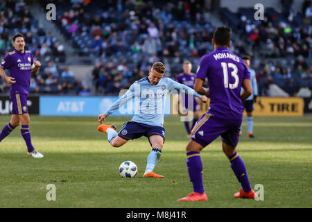 NYCFC vs. Orlando City SC action at Yankee Stadium on 17th March 2018. NYCFC won 2-0. - Stock Photo