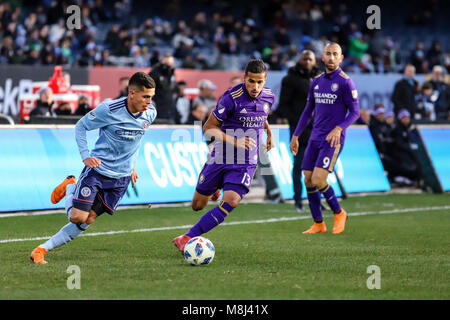 NYCFC vs. Orlando City SC action at Yankee Stadium on 17th March 2018. NYCFC won 2-0. Jesus Medina (19) dribbles. - Stock Photo