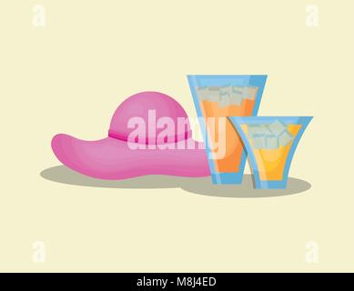 Summer time design with beach hat and cocktails over white background, colorful design vector illustration - Stock Photo