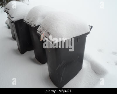 Domestic wheely bins in an English garden after the Beast from the East snow storm, Durham, England. - Stock Photo