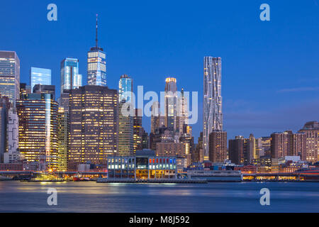 DOWNTOWN SKYLINE EAST RIVER MANHATTAN NEW YORK CITY USA - Stock Photo