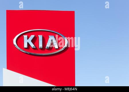 Holme, Denmark - September 20, 2015: Kia Motors sign on a panel of a dealership - Stock Photo