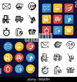 Delivery or Shipping All in One Icons Black & White Color Flat Design Freehand Set - Stock Photo