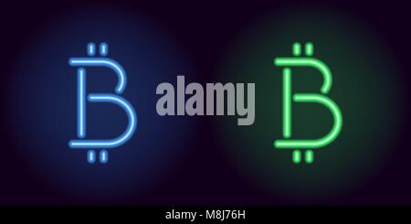 Blue and green neon bitcoin sign. Vector silhouette of neon bitcoin currency consisting of outlines, with backlight - Stock Photo