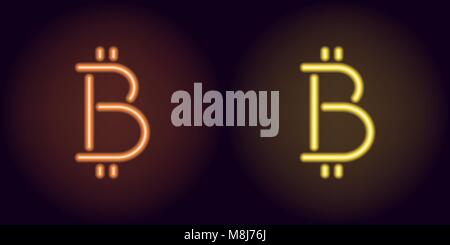 Orange and yellow neon bitcoin sign. Vector silhouette of neon bitcoin currency consisting of outlines, with backlight - Stock Photo