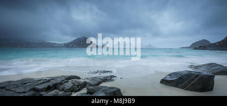 Haukland Beach, Lofoten, Vestvagoy, Nordland, Norway - Stock Photo