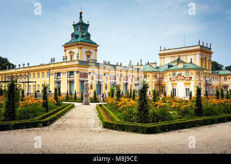WARSAW, POLAND - JULY 26, 2014:  Wilanow Royal Palace gardens. 17th century, built for the Polish King John III - Stock Photo