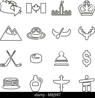 Canada Country & Culture Icons Thin Line Vector Illustration Set - Stock Photo
