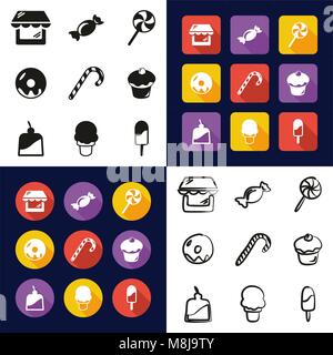 Candy Shop All in One Icons Black & White Color Flat Design Freehand Set - Stock Photo