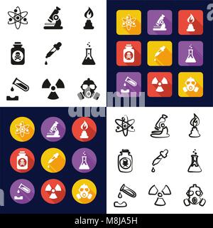 Chemistry All in One Icons Black & White Color Flat Design Freehand Set - Stock Photo