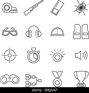 Clay Shooting or Skeet Shooting Icons Thin Line Vector Illustration Set - Stock Photo
