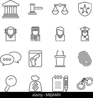 Courthouse Trial or Court of Justice Icons Thin Line Vector Illustration Set - Stock Photo