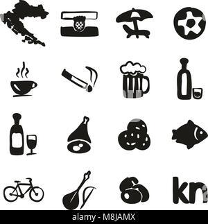 Croatia Icons Freehand Fill - Stock Photo