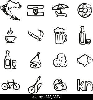 Croatia Icons Freehand - Stock Photo