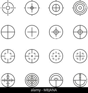 Crosshair or Sight Icons Thin Line Vector Illustration Set - Stock Photo