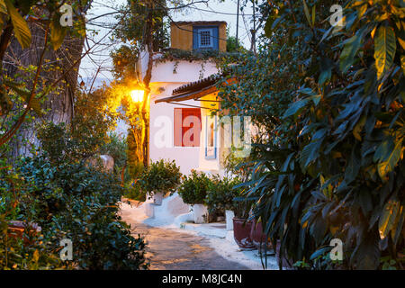 Anafiotika neighborhood in the old town of Athens, Greece. - Stock Photo