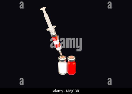 Syringe with white blood cells, red blood cells white blood cells with red blood cells - Stock Photo