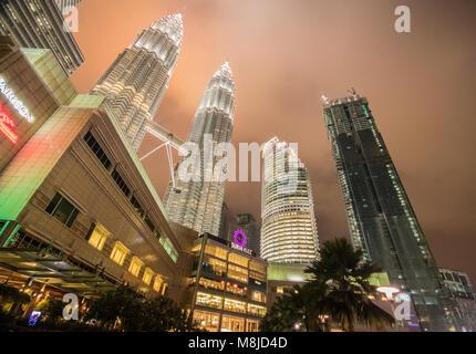 Petronas Towers at night, KLCC, Kuala Lumpur, Malaysia - Stock Photo