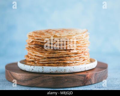 russian pancakes blini with copy space - Stock Photo