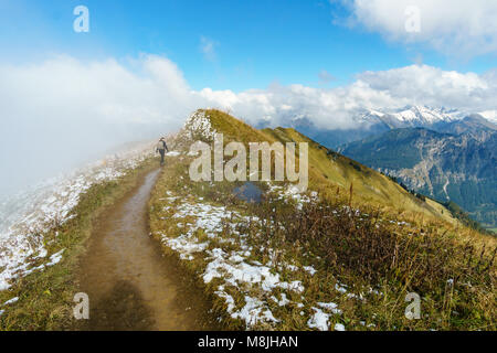 Hiking trail in the mountain landscape of the Allgau Alps on the border between Germany and Austria. - Stock Photo