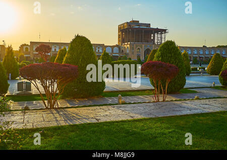 The scenic sunset on the medieval Naqsh-e Jahan square - the central tourist destination of Isfahan, famous for - Stock Photo