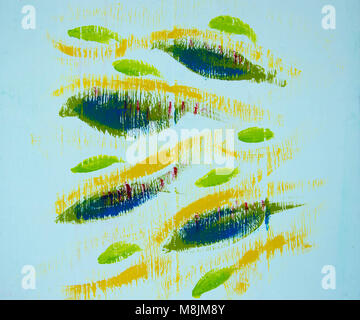 Hand painted abstract fish on white wood panel background - Stock Photo
