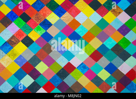 Hand painted colourful diamond pattern - Stock Photo