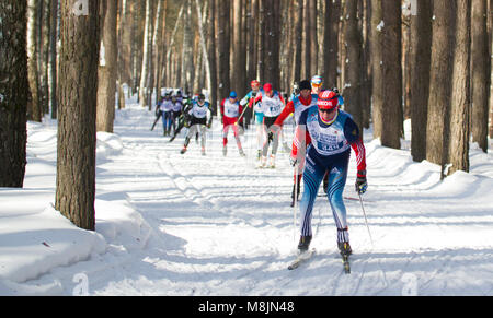 KAZAN, RUSSIA - March, 2018: ski marathon in sunny frozen forest - Stock Photo