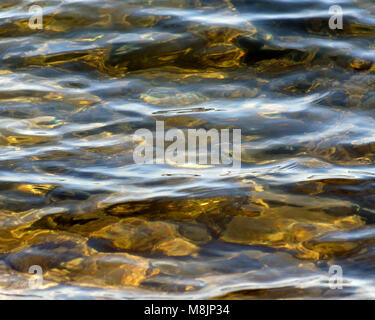 Soft ripples on surface of clear lake waters - Stock Photo