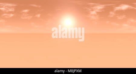 10k HDRI map: sun in cloudy red sky over an desert landscape on an alien planet (high resolution  environment map - Stock Photo