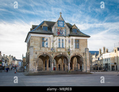 The exterior of Peterborough Guildhall which is a historic building in the centre of Peterborough, UK with a clock - Stock Photo