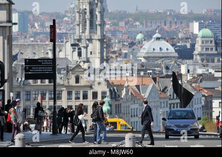 Montagne de la Cour / Coudenberg street, Brussels Town Hall tower and Art Deco Basilique Nationale du Sacre Coeur - Stock Photo