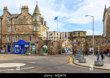 West Port entrance to the old town of St Andrews, through the historical city walls, St Andrews, Fife, Scotland - Stock Photo