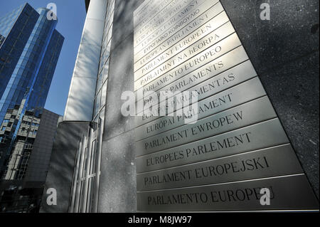 Altiero Spinelli building and names of European Parliament in all official languages of EU on the wall of Paul-Henri - Stock Photo