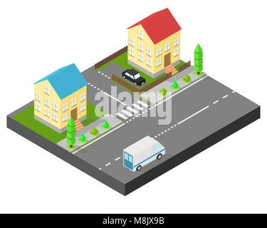Isometric house. Two houses on the same street. Sidewalk with trees, the road the car. The yard is fenced with a - Stock Photo