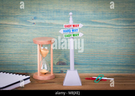 Easy way and Hard Way. Signpost on wooden table - Stock Photo