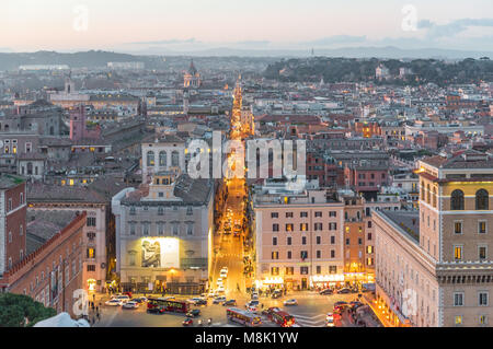 Rome, Italy - The cityscape from Vittoriano monument, in the center of Rome, also know as 'Altare della Patria', - Stock Photo