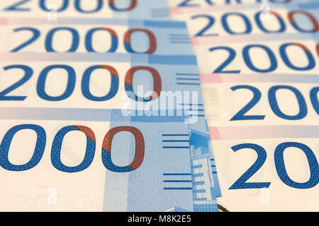 New Zealand cash, money or currency. Notes and coins - Stock Photo
